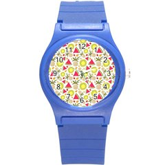 Summer Fruits Pattern Round Plastic Sport Watch (s) by TastefulDesigns