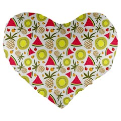 Summer Fruits Pattern Large 19  Premium Flano Heart Shape Cushions by TastefulDesigns