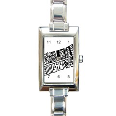 Feather Zentangle Rectangle Italian Charm Watch by CraftyLittleNodes