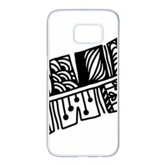 Feather Zentangle Samsung Galaxy S7 Edge White Seamless Case by CraftyLittleNodes