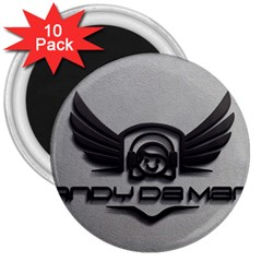 Andy Da Man 3d Grey 3  Magnets (10 Pack)  by Acid909