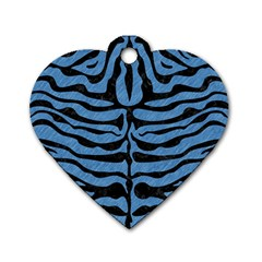 Skin2 Black Marble & Blue Colored Pencil (r) Dog Tag Heart (one Side) by trendistuff