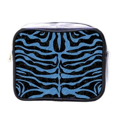 Skin2 Black Marble & Blue Colored Pencil Mini Toiletries Bag (one Side) by trendistuff