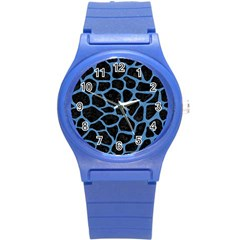 Skin1 Black Marble & Blue Colored Pencil (r) Round Plastic Sport Watch (s) by trendistuff