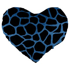 Skin1 Black Marble & Blue Colored Pencil (r) Large 19  Premium Flano Heart Shape Cushion by trendistuff
