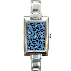 Skin1 Black Marble & Blue Colored Pencil Rectangle Italian Charm Watch by trendistuff