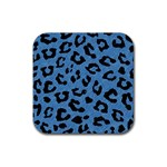 SKIN1 BLACK MARBLE & BLUE COLORED PENCIL Rubber Coaster (Square) Front