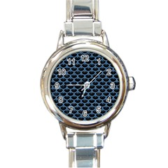 Scales3 Black Marble & Blue Colored Pencil Round Italian Charm Watch by trendistuff