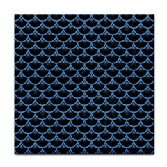 Scales3 Black Marble & Blue Colored Pencil Tile Coaster by trendistuff