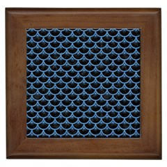 Scales3 Black Marble & Blue Colored Pencil Framed Tile by trendistuff