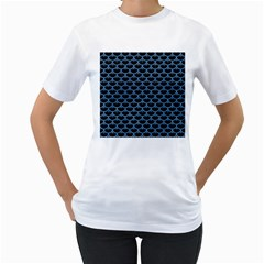 Scales3 Black Marble & Blue Colored Pencil Women s T Shirt (white) (two Sided) by trendistuff