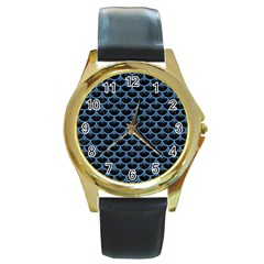 Scales3 Black Marble & Blue Colored Pencil Round Gold Metal Watch by trendistuff