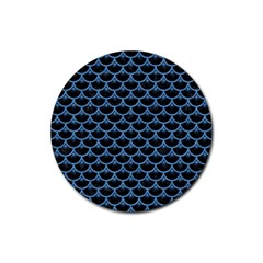 Scales3 Black Marble & Blue Colored Pencil Rubber Round Coaster (4 Pack)