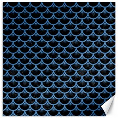 Scales3 Black Marble & Blue Colored Pencil Canvas 16  X 16  by trendistuff