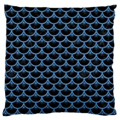 Scales3 Black Marble & Blue Colored Pencil Large Cushion Case (one Side) by trendistuff