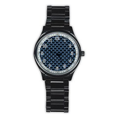 Scales3 Black Marble & Blue Colored Pencil Stainless Steel Round Watch by trendistuff