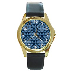Scales2 Black Marble & Blue Colored Pencil (r) Round Gold Metal Watch by trendistuff