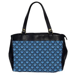 Scales2 Black Marble & Blue Colored Pencil (r) Oversize Office Handbag (2 Sides) by trendistuff