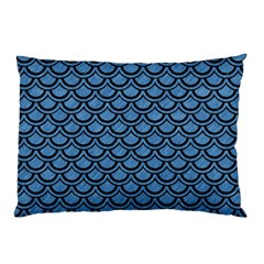 Scales2 Black Marble & Blue Colored Pencil (r) Pillow Case (two Sides) by trendistuff