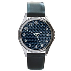 Scales2 Black Marble & Blue Colored Pencil Round Metal Watch by trendistuff