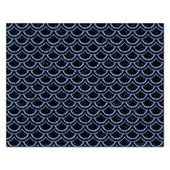 Scales2 Black Marble & Blue Colored Pencil Jigsaw Puzzle (rectangular) by trendistuff