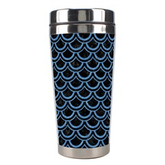 Scales2 Black Marble & Blue Colored Pencil Stainless Steel Travel Tumbler by trendistuff
