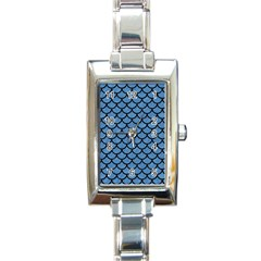 Scales1 Black Marble & Blue Colored Pencil (r) Rectangle Italian Charm Watch by trendistuff