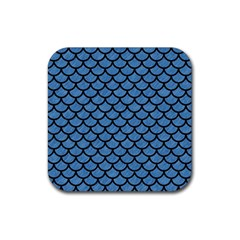 Scales1 Black Marble & Blue Colored Pencil (r) Rubber Coaster (square) by trendistuff