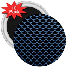 Scales1 Black Marble & Blue Colored Pencil 3  Magnet (10 Pack) by trendistuff