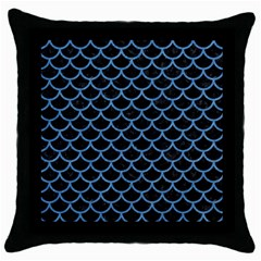 Scales1 Black Marble & Blue Colored Pencil Throw Pillow Case (black) by trendistuff