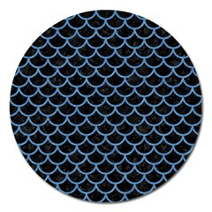 Scales1 Black Marble & Blue Colored Pencil Magnet 5  (round) by trendistuff
