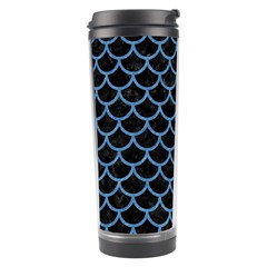 Scales1 Black Marble & Blue Colored Pencil Travel Tumbler by trendistuff