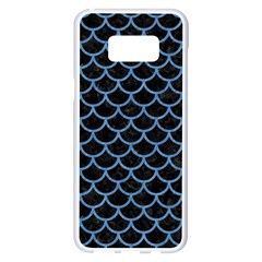 Scales1 Black Marble & Blue Colored Pencil Samsung Galaxy S8 Plus White Seamless Case by trendistuff