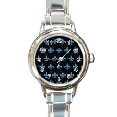Royal1 Black Marble & Blue Colored Pencil (r) Round Italian Charm Watch by trendistuff