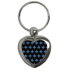 Royal1 Black Marble & Blue Colored Pencil (r) Key Chain (heart) by trendistuff