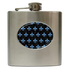 Royal1 Black Marble & Blue Colored Pencil (r) Hip Flask (6 Oz) by trendistuff
