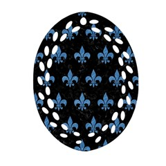 Royal1 Black Marble & Blue Colored Pencil (r) Oval Filigree Ornament (two Sides)