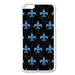 Royal1 Black Marble & Blue Colored Pencil (r) Apple Iphone 6 Plus/6s Plus Enamel White Case by trendistuff