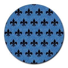 Royal1 Black Marble & Blue Colored Pencil Round Mousepad by trendistuff