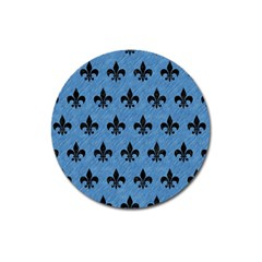 Royal1 Black Marble & Blue Colored Pencil Magnet 3  (round) by trendistuff