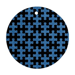 Puzzle1 Black Marble & Blue Colored Pencil Ornament (round) by trendistuff