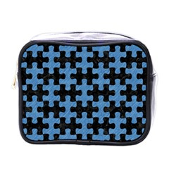 Puzzle1 Black Marble & Blue Colored Pencil Mini Toiletries Bag (one Side) by trendistuff