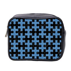 Puzzle1 Black Marble & Blue Colored Pencil Mini Toiletries Bag (two Sides) by trendistuff