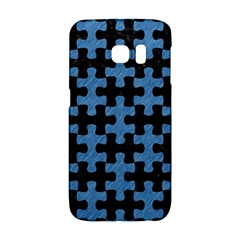 Puzzle1 Black Marble & Blue Colored Pencil Samsung Galaxy S6 Edge Hardshell Case by trendistuff