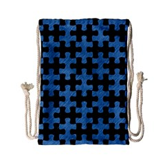 Puzzle1 Black Marble & Blue Colored Pencil Drawstring Bag (small) by trendistuff