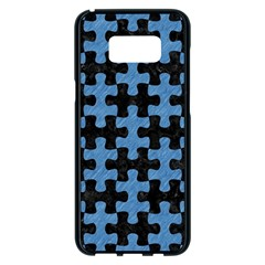 Puzzle1 Black Marble & Blue Colored Pencil Samsung Galaxy S8 Plus Black Seamless Case by trendistuff