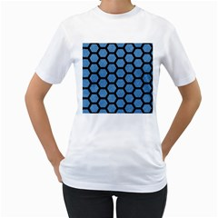 Hexagon2 Black Marble & Blue Colored Pencil (r) Women s T Shirt (white) (two Sided) by trendistuff