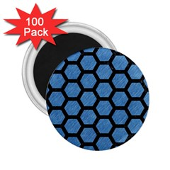Hexagon2 Black Marble & Blue Colored Pencil (r) 2 25  Magnet (100 Pack)  by trendistuff