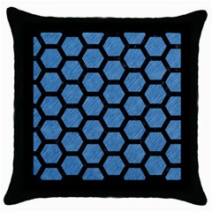 Hexagon2 Black Marble & Blue Colored Pencil (r) Throw Pillow Case (black) by trendistuff