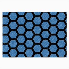 Hexagon2 Black Marble & Blue Colored Pencil (r) Large Glasses Cloth (2 Sides) by trendistuff